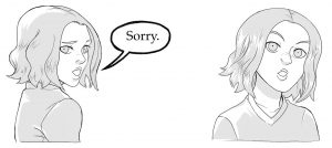 """""""Sorry,"""" Annie stammers then looks up to see who's in front of her."""