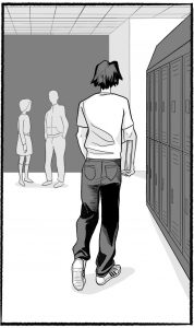 Jonah walking away, seen from behind in a hallway lined with lockers.