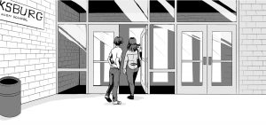 Jonah follows his mother out the front glass doors of the school.